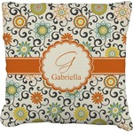 Swirls & Floral Burlap Throw Pillow (Personalized)