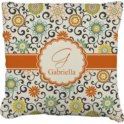Swirls & Floral Faux-Linen Throw Pillow (Personalized)