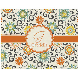 Swirls & Floral Woven Fabric Placemat - Twill w/ Name and Initial