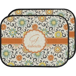Swirls & Floral Car Floor Mats (Back Seat) (Personalized)