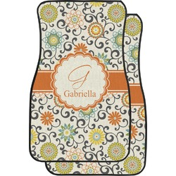 Swirls & Floral Car Floor Mats (Front Seat) (Personalized)