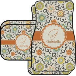 Swirls & Floral Car Floor Mats Set - 2 Front & 2 Back (Personalized)