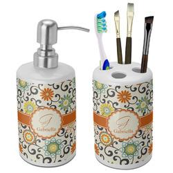 Swirls & Floral Bathroom Accessories Set (Ceramic) (Personalized)