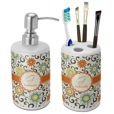 Swirls & Floral Ceramic Bathroom Accessories Set (Personalized)
