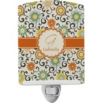 Swirls & Floral Ceramic Night Light (Personalized)