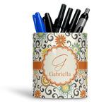 Swirls & Floral Ceramic Pen Holder