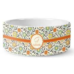 Swirls & Floral Ceramic Dog Bowl (Personalized)