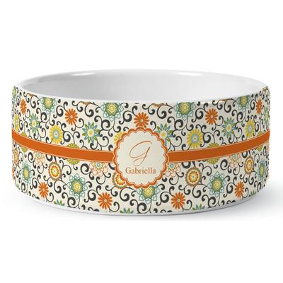 Swirls & Floral Ceramic Dog Bowl (Personalized)