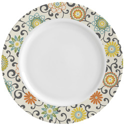 Swirls & Floral Ceramic Dinner Plates (Set of 4) (Personalized)