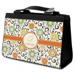 Swirls & Floral Classic Tote Purse w/ Leather Trim (Personalized)