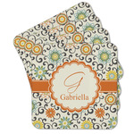 Swirls & Floral Cork Coaster - Set of 4 w/ Name and Initial
