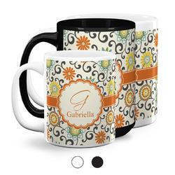 Swirls & Floral Coffee Mugs (Personalized)