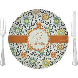 """Swirls & Floral Glass Lunch / Dinner Plates 10"""" - Single or Set (Personalized)"""