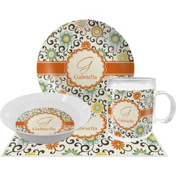 Swirls & Floral Dinner Set - 4 Pc (Personalized)