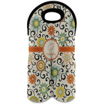 Swirls & Floral Wine Tote Bag (2 Bottles) (Personalized)