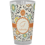 Swirls & Floral Drinking / Pint Glass (Personalized)