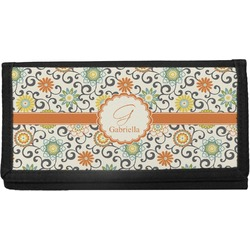 Swirls & Floral Canvas Checkbook Cover (Personalized)