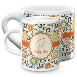 Swirls & Floral Espresso Cups (Personalized)