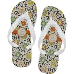 Swirls & Floral Flip Flops (Personalized)