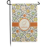 Swirls & Floral Garden Flag - Single or Double Sided (Personalized)