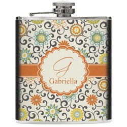 Swirls & Floral Genuine Leather Flask (Personalized)