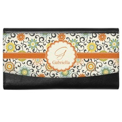 Swirls & Floral Genuine Leather Ladies Wallet (Personalized)
