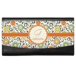 Swirls & Floral Genuine Leather Ladies Wallet (Personalized)