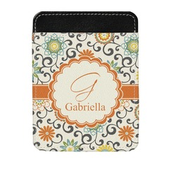 Swirls & Floral Genuine Leather Money Clip (Personalized)