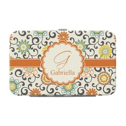 Swirls & Floral Genuine Leather Small Framed Wallet (Personalized)