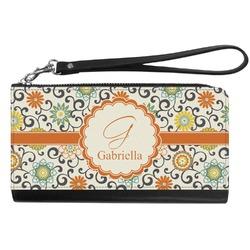 Swirls & Floral Genuine Leather Smartphone Wrist Wallet (Personalized)