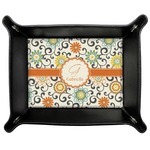 Swirls & Floral Genuine Leather Valet Tray (Personalized)