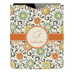 Swirls & Floral Genuine Leather iPad Sleeve (Personalized)