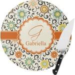 Swirls & Floral Round Glass Cutting Board (Personalized)