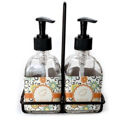 Swirls & Floral Soap & Lotion Dispenser Set (Glass) (Personalized)