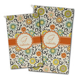 Swirls & Floral Golf Towel - Full Print w/ Name and Initial