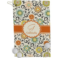 Swirls & Floral Golf Towel - Full Print (Personalized)