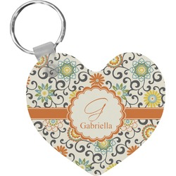 Swirls & Floral Heart Keychain (Personalized)
