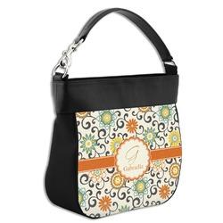 Swirls & Floral Hobo Purse w/ Genuine Leather Trim (Personalized)