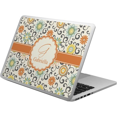 Swirls & Floral Laptop Skin - Custom Sized (Personalized)