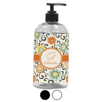 Swirls & Floral Plastic Soap / Lotion Dispenser (Personalized)
