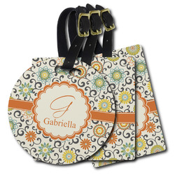 Swirls & Floral Plastic Luggage Tags (Personalized)