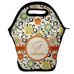 Swirls & Floral Lunch Bag w/ Name and Initial