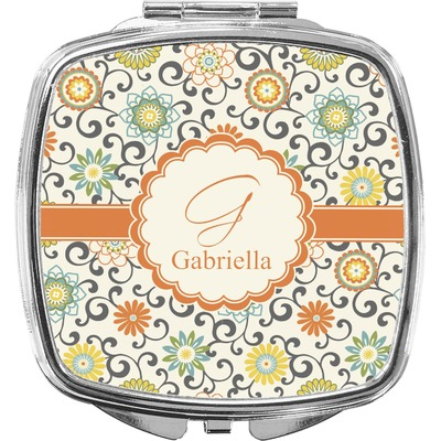 Swirls & Floral Compact Makeup Mirror (Personalized)