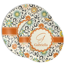 Swirls & Floral Melamine Plate (Personalized)