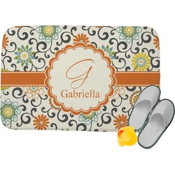Swirls & Floral Memory Foam Bath Mat (Personalized)