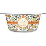 Swirls & Floral Stainless Steel Dog Bowl (Personalized)