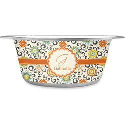 Swirls & Floral Stainless Steel Pet Bowl (Personalized)