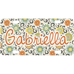 Swirls & Floral Mini / Bicycle License Plate (Personalized)