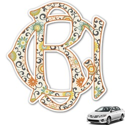 Swirls & Floral Monogram Car Decal (Personalized)
