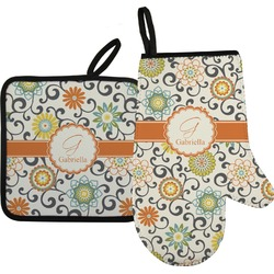 Swirls & Floral Oven Mitt & Pot Holder (Personalized)
